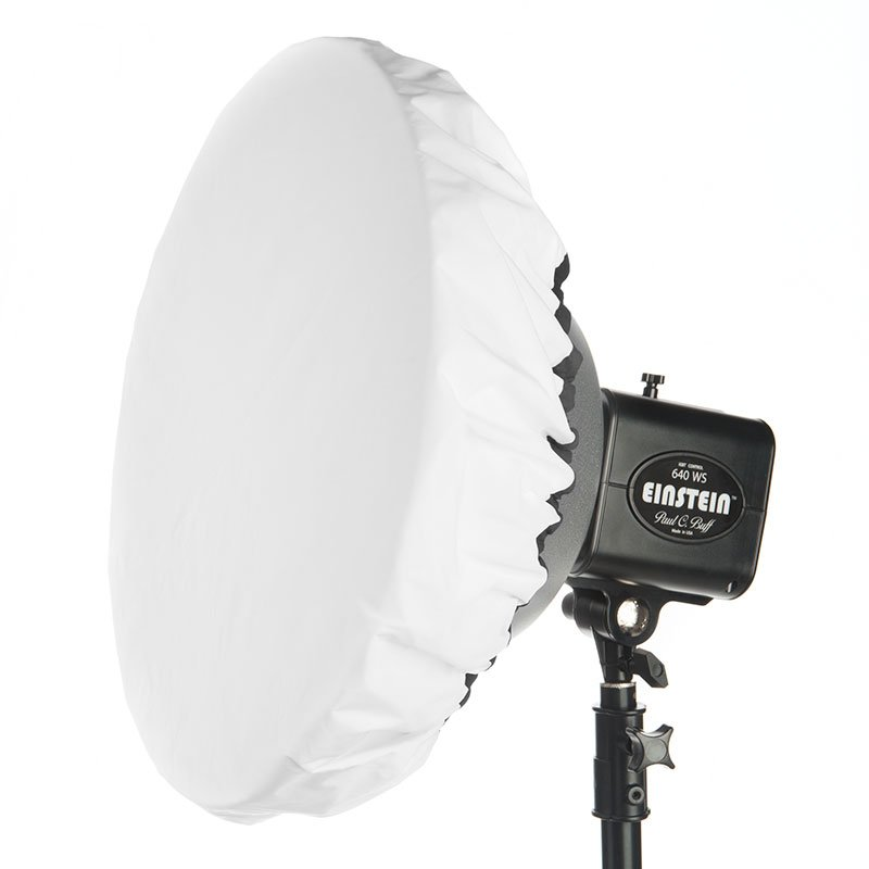 """Omni with 3 stop diffuser sock installed. Note: the included diffusion sock is large enough to fit a 22"""" beauty dish."""